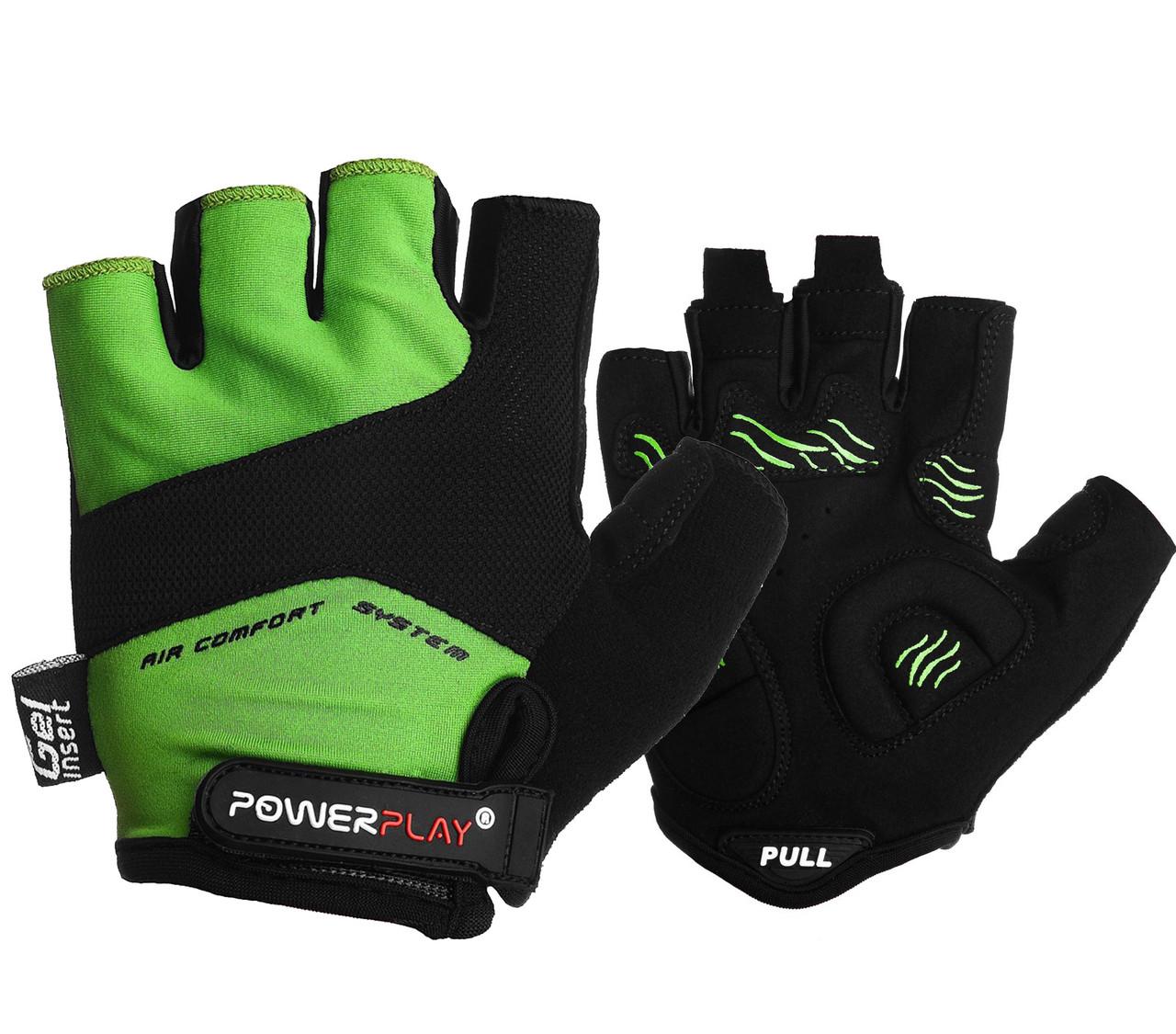 Велорукавички PowerPlay 5013 B Зелені M
