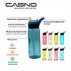 Пляшка для води CASNO 750 мл KXN-1210 Зелена з соломинкою, фото 8