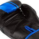 Боксерські рукавиці PowerPlay 3022 Чорно-Сині [натуральна шкіра] 10 унцій, фото 5