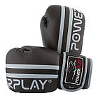 Боксерські рукавиці PowerPlay 3010 Чорно-Сірі 10 унцій, фото 7