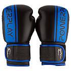 Боксерські рукавиці PowerPlay 3022 Чорно-Сині [натуральна шкіра] 16 унцій, фото 2