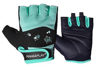 Фітнес рукавички PowerPlay 3492 жіночі Чорно-М'ясного ятні S