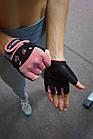 Рукавички для фітнесу PowerPlay 3492 жіночі Чорно-Розові XS, фото 10