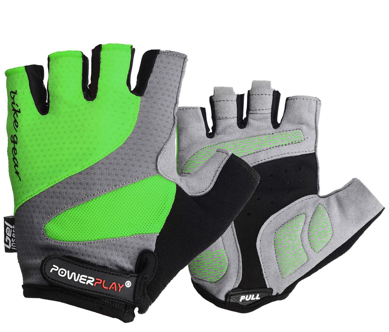 Велорукавички PowerPlay 5004 C Зелені L