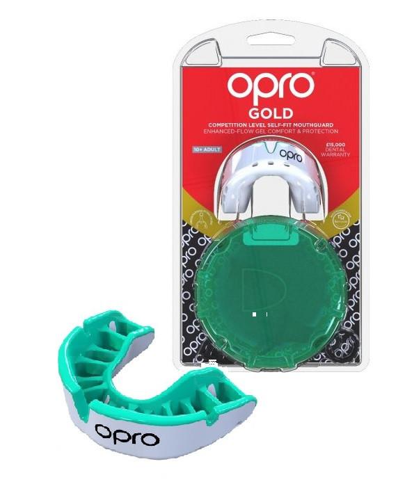 Капа OPRO Gold Series White/Mint (art.002226006)