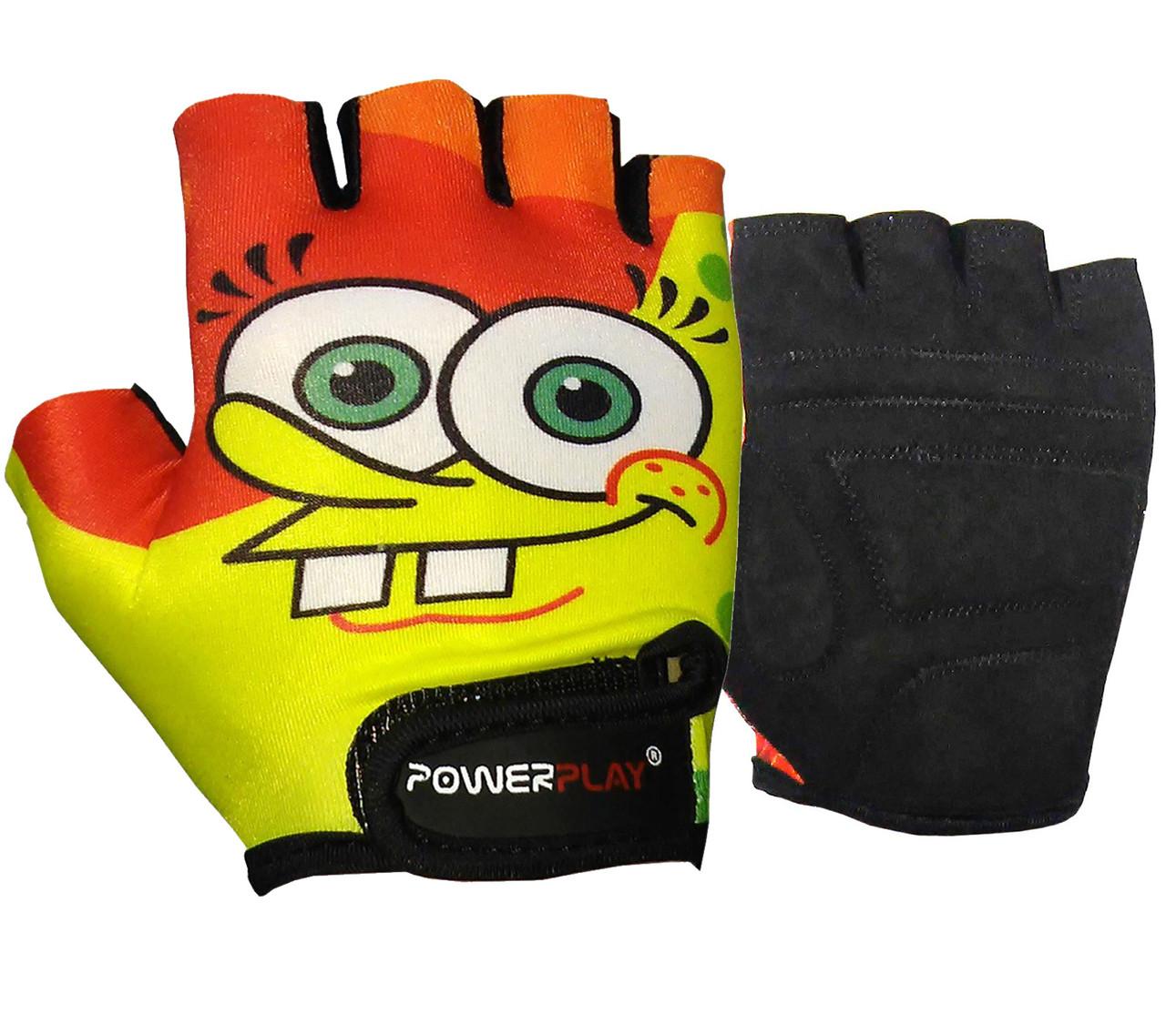 Велорукавички PowerPlay 5473 Sponge Bob жовто-помаранчеві S