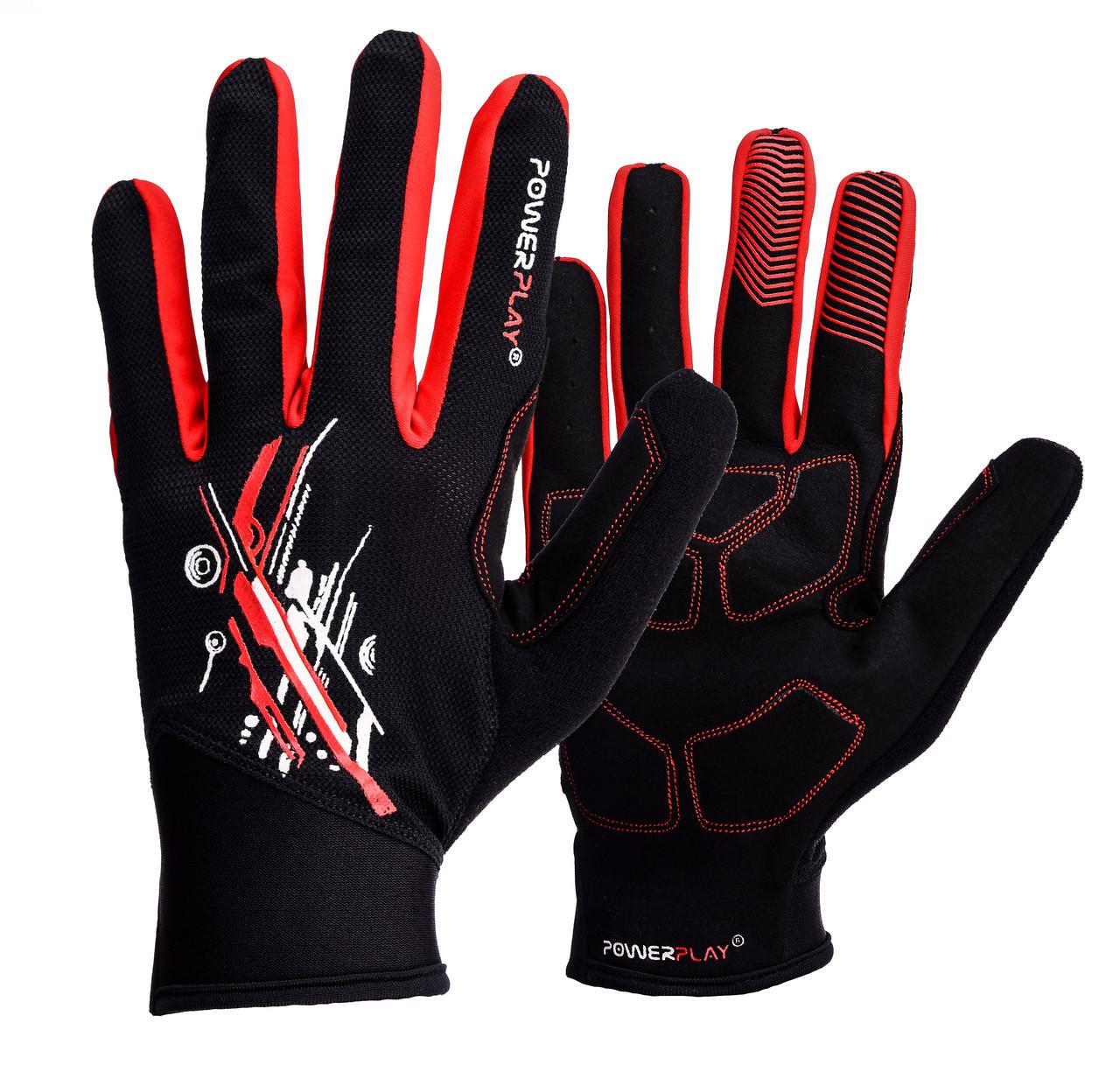 Рукавички для бігу PowerPlay 6607 Чорно-Червоні M