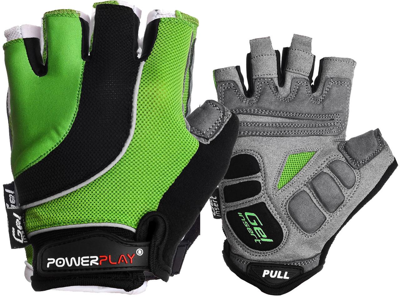 Велорукавички PowerPlay 5037 Чорно-зелені M