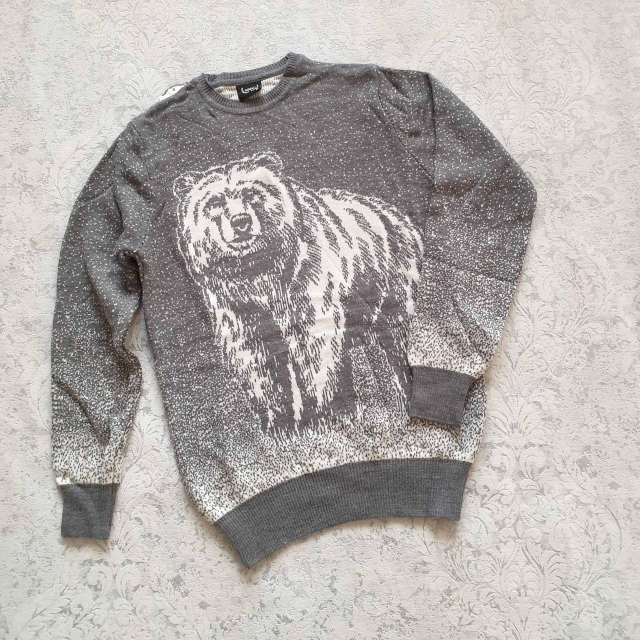 Молодёжный и детский вязаный свитер с медведем размеры M,L,XL,XXL