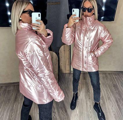 """Женская тёплая куртка до больших размеров 580 """"Плащёвка-Кожа Стойка"""" в расцветках"""