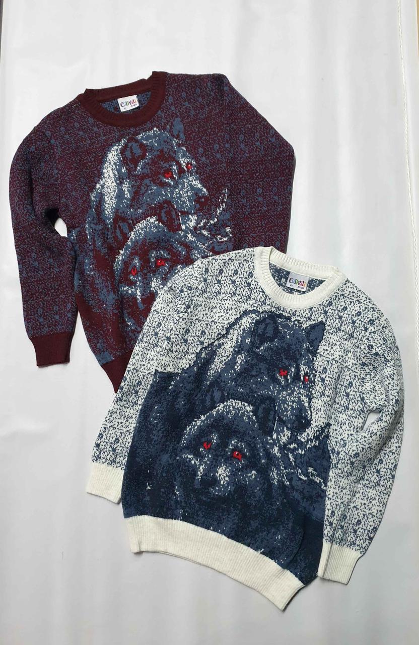 Дитячий в'язаний светр з оленями на хлопчиків 5-11 років Туреччина