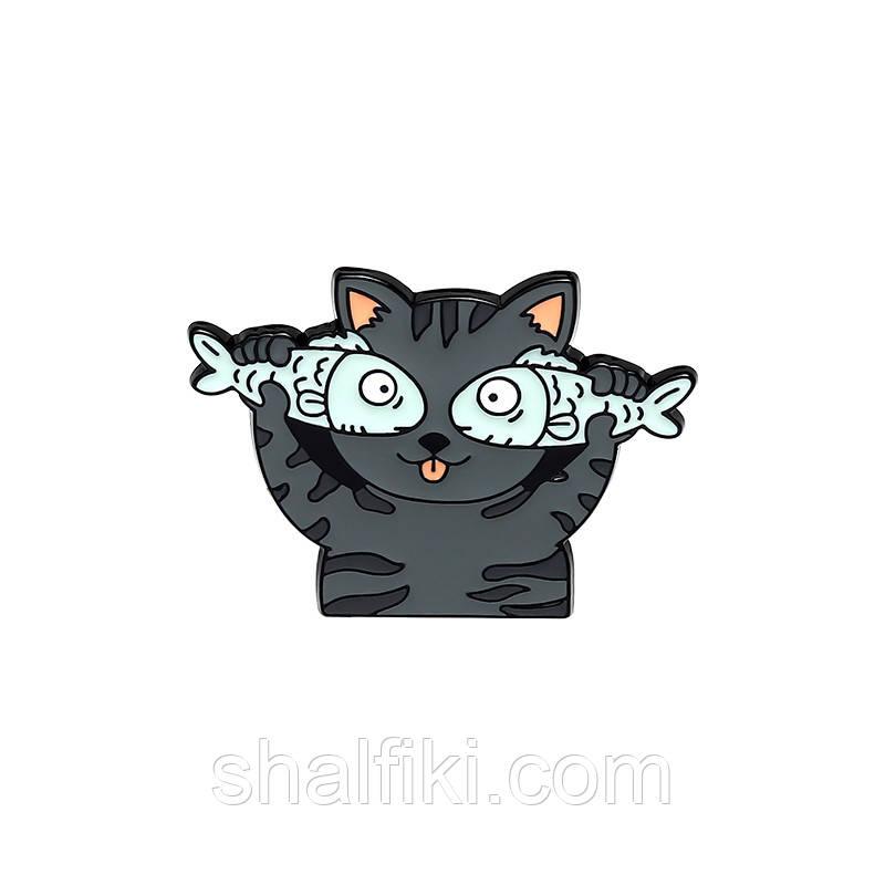 """""""Кот с рыбкой"""" значок (пин) металлический"""