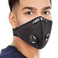 Спортивная маска респиратор KN95 | FFP2 с двумя клапанами и сменным угольным фильтром Черная