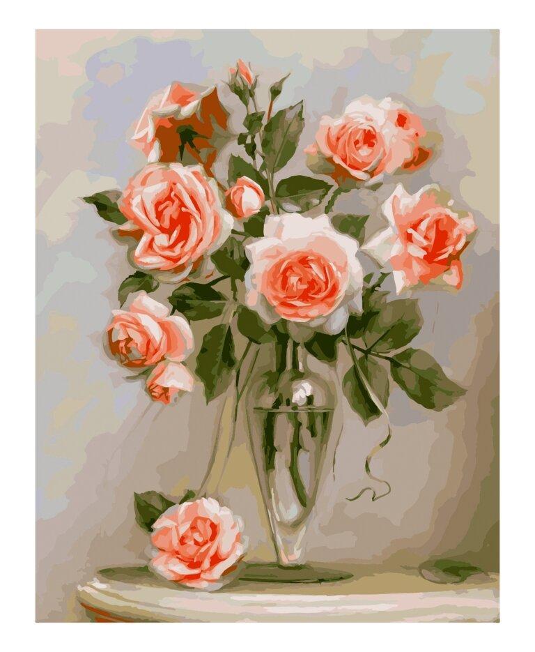 КНО2034 Раскраска по номерам Трепетные розы, Без коробки