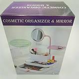 Настольный бокс для хранения косметики с выдвижными ящиками и зеркалом органайзер, фото 5
