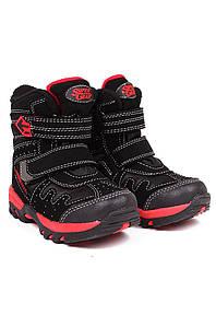 Ботинки термо детские мальчик черные с красным Super 126740P