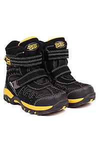 Ботинки термо детские мальчик черные с желтым Super 126746P