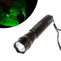Фонарь светодиодный для охоты рыбалки с зеленым свечением, 300лм, CREE 2012-00452