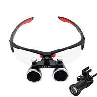 Бинокулярные увеличительные очки лупа 3.5х 420мм с подсветкой и АКБ 1800мАч 2012-01830, фото 1