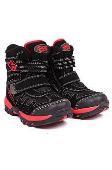 Ботинки термо детские мальчик черные с красным Super 126740M