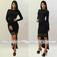 Асимметричное платье с кружевом