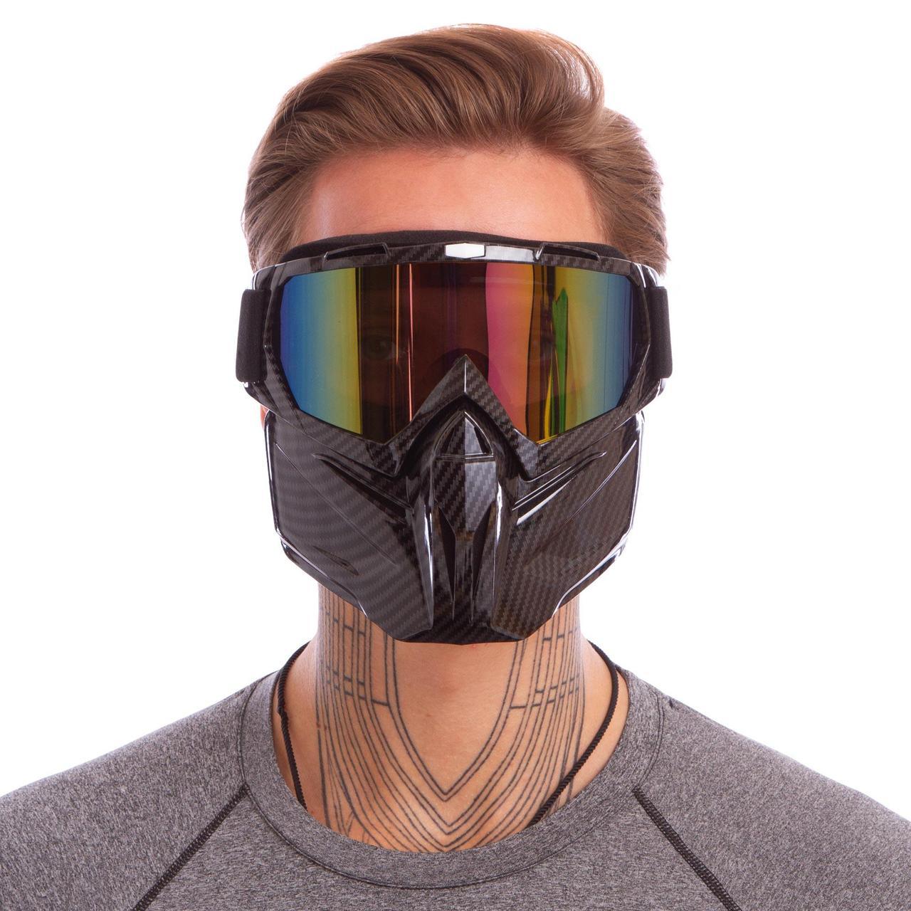 Маска защитная пол-лица 307 (пластик, р-р регул., цвета в ассортименте)