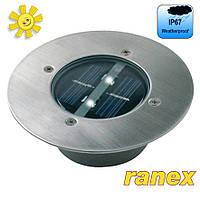 Грунтовой ландшафтный солнечный светильник Ranex Carlo LED Solar IP67, нержавеющая сталь, стекло