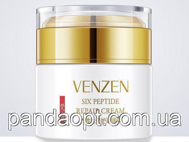 Разглаживающий крем для лица с гексапептидом 11 и витамином Е Venzen Six Peptide Repair Cream , 50г