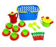 Набор посудки в корзинке (голубая) KW-04-437