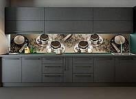 Скинали на кухню Zatarga Кофе с сахаром 600х2500 мм темно-серый виниловая 3Д наклейка кухонный фартук для