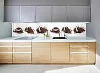"""Скинали на кухню Zatarga """"Кофейные чашки"""" 600х2500 мм белый виниловая 3Д наклейка кухонный фартук для стен,"""
