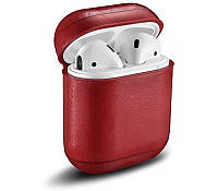 Кожаный чехол для AirPods Vintage Leather Case Red