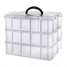 Коробка органайзер кейс для снастей бисера 240х160х180мм 3 уровня 30 ячеек