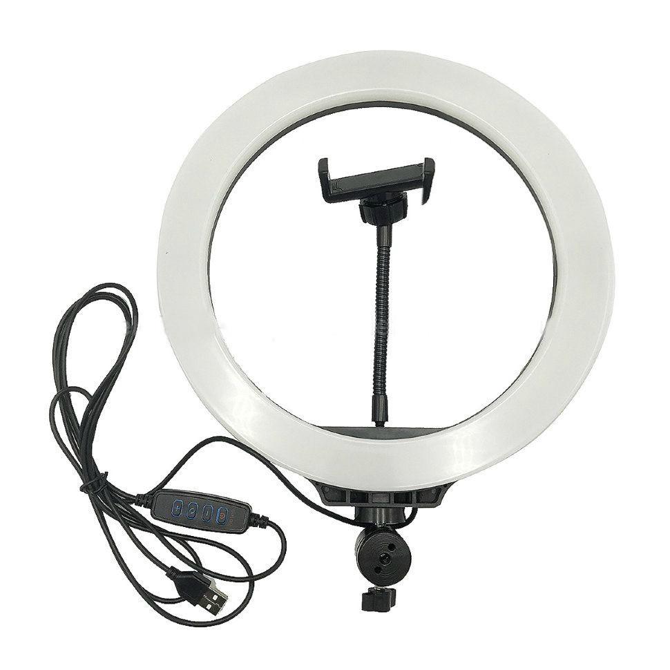 Кільцевий світло Selfie Ring Light лампа світлодіодна з гнучким тримачем для телефону 26см Біло-чорний (LC666)