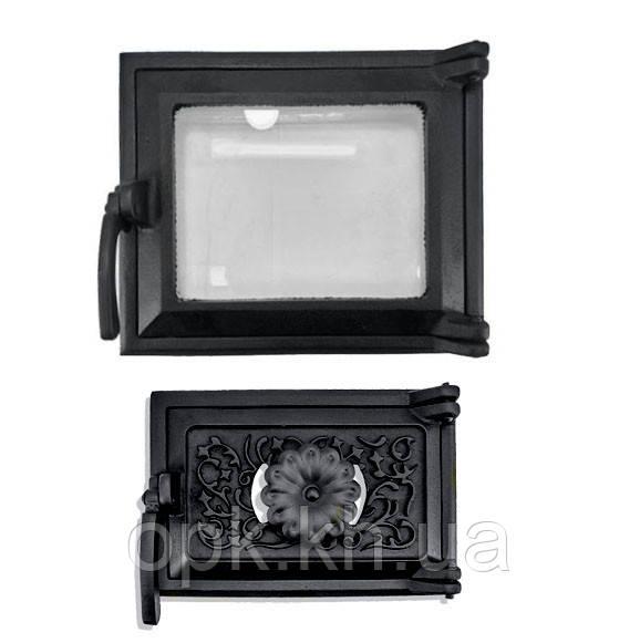 """Дверки чугунные стекло комплект  """"Эко""""  230*275 мм черная (вес - 7 кг)"""