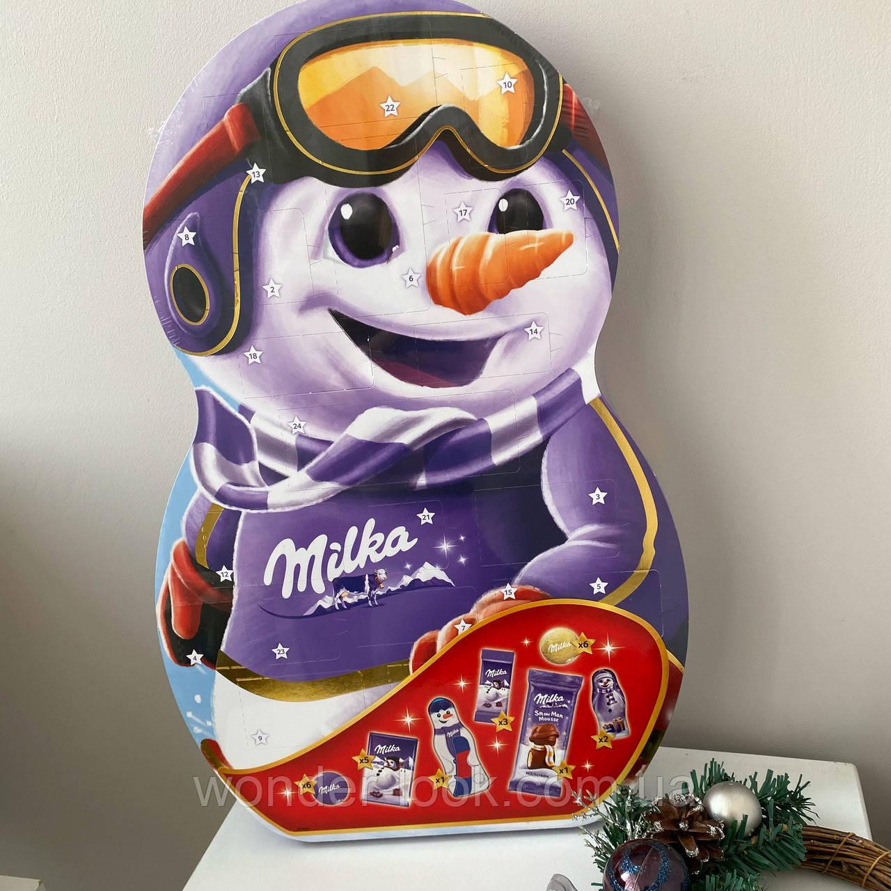 Большой адвент календарь Милка снеговик Milka 236 грамм