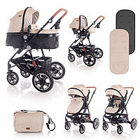 Детская универсальная коляска 3в1 бежево-черная Lorelli Lora set с автокреслом детям от рождения и до 3 лет