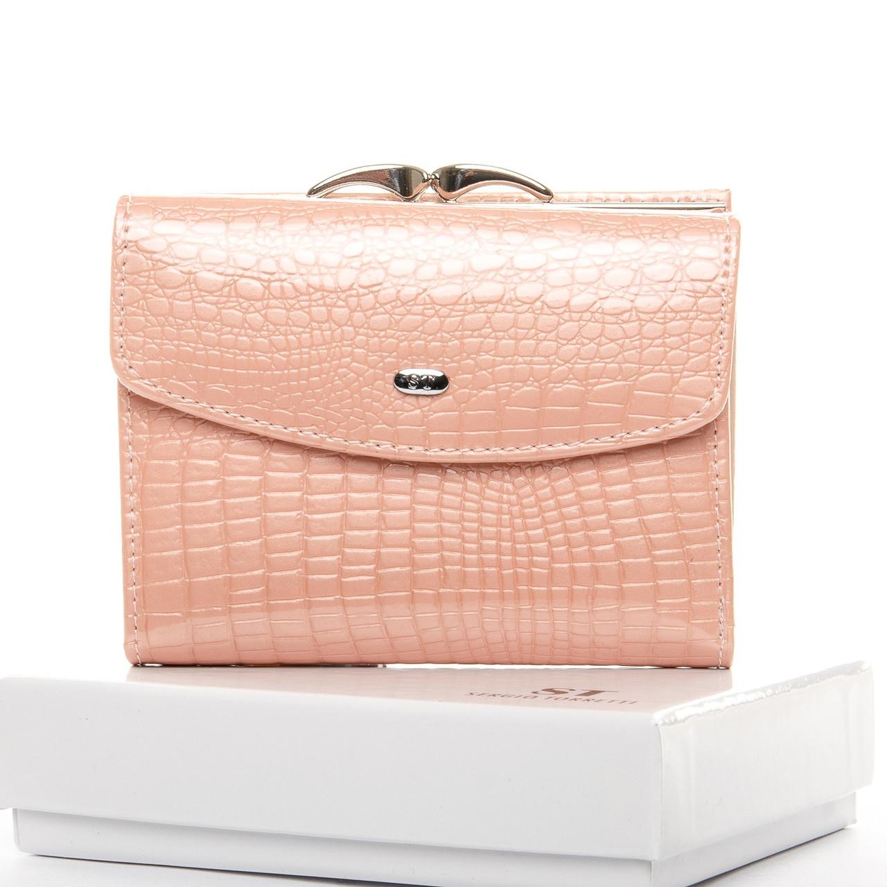 Кошелек женский кожаный лаковый маленький нежно розовый Sergio Torretti WS-11