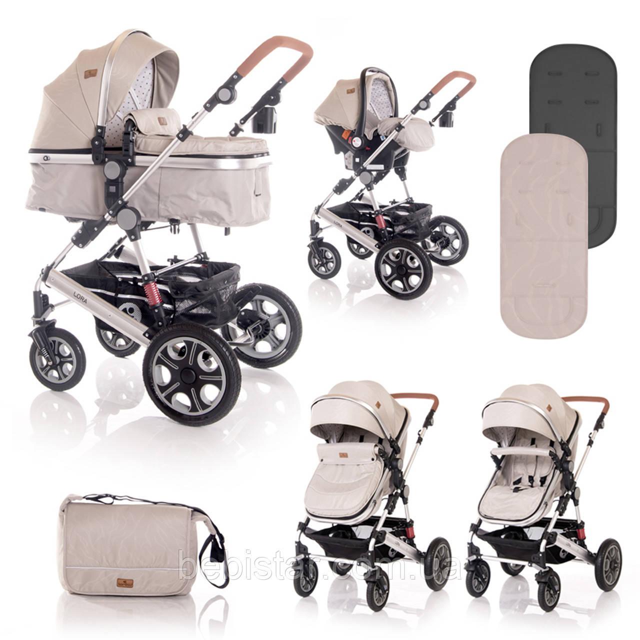 Детская универсальная коляска 3в1 бежевая Lorelli Lora set с автокреслом детям от рождения и до 3 лет