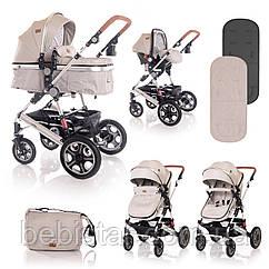 Детская универсальная коляска 3в1 бежевая Lorelli Lora set String с автокреслом детям от рождения и до 3 лет