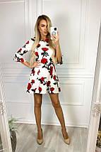 """Приталенное трикотажное мини-платье """"РОЗА"""" с цветочным принтом, фото 3"""