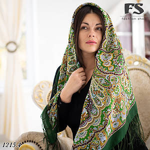 Зелёный  павлопосадский шерстяной платок Гжель