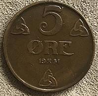 Монета Норвегии 5 эре 1951 г., фото 1