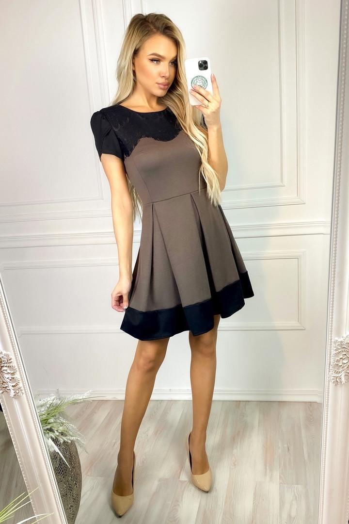 """Приталенное трикотажное мини-платье """"TINA"""" с коротким рукавом"""