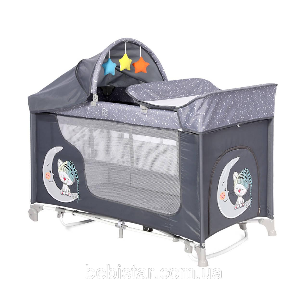 Манеж-кровать серый Moonlight Rocker 2 Layers Grey Cute Moon укачивание два уровня пеленатор игрушки
