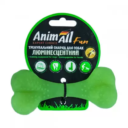 Игрушка для собак кость зеленая люминесцентная с ароматом ванили 12см, AnimAll (АнимАлл)