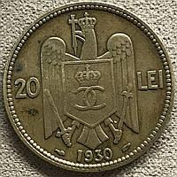 Монета Румынии 20 лей 1930 г., фото 1