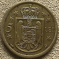 Монета Румынии 5 лей 1930 г., фото 1