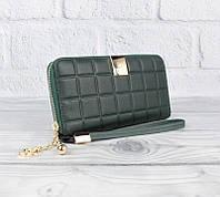 Кошелек клатч женский на змейке кожаный зеленый 60019-1, фото 1