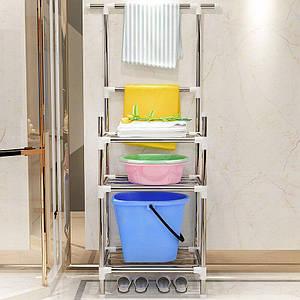 Складной открытый стеллаж с полками - этажерка в ванную комнату (5862)